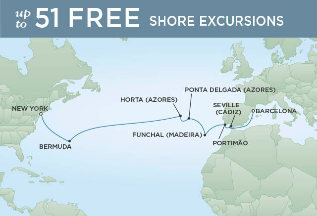 Regent Cruises | 16-Nights from Barcelona to New York Cruise Iinerary Map