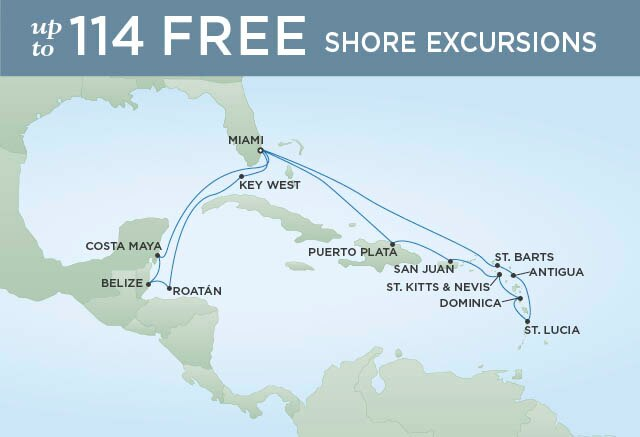 Regent Cruises | 18-Nights Roundtrip from Miami Cruise Iinerary Map