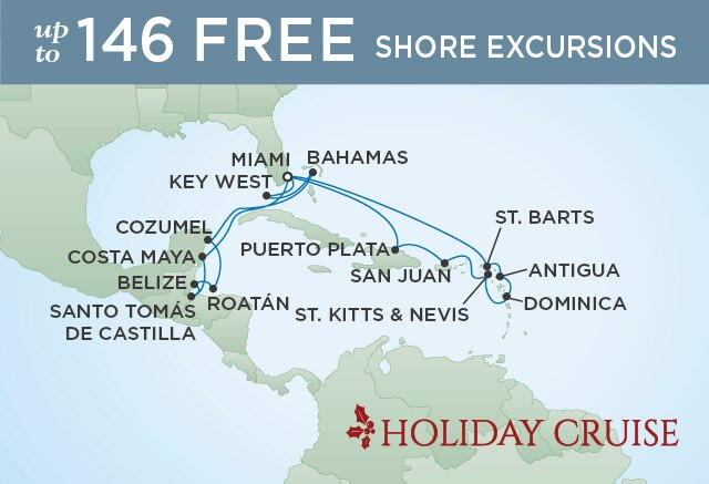 Regent Cruises | 20-Nights Roundtrip from Miami Cruise Iinerary Map