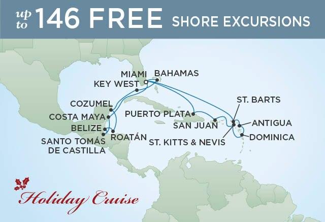 Regent Cruises | 20-Nights Roundtrip from Miami Cruise Iinerary Map
