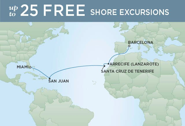 Regent Cruises | 14-Nights from Barcelona to Miami Cruise Iinerary Map