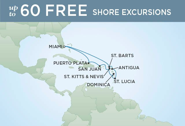 Regent Cruises | 11-Nights Roundtrip from Miami Cruise Iinerary Map