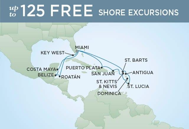 Regent Cruises   18-Nights Roundtrip from Miami Cruise Iinerary Map