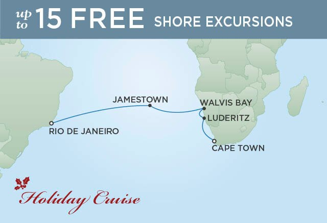 Regent Cruises | 14-Nights from Cape Town to Rio de Janeiro Cruise Iinerary Map