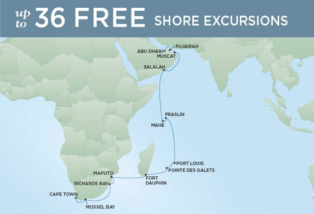 Regent Cruises | 22-Nights from Abu Dhabi to Cape Town Cruise Iinerary Map