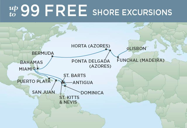 Regent Cruises | 24-Nights from Miami to Lisbon Cruise Iinerary Map