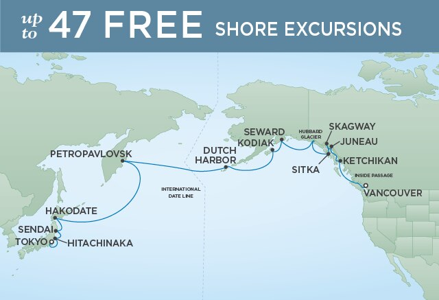 Regent Cruises | 18-Nights from Tokyo to Vancouver Cruise Iinerary Map