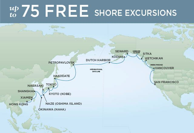 Regent Cruises | 35-Nights from Hong Kong to San Francisco Cruise Iinerary Map