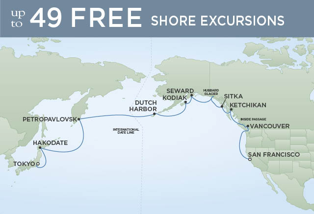 Regent Cruises | 20-Nights from Tokyo to San Francisco Cruise Iinerary Map