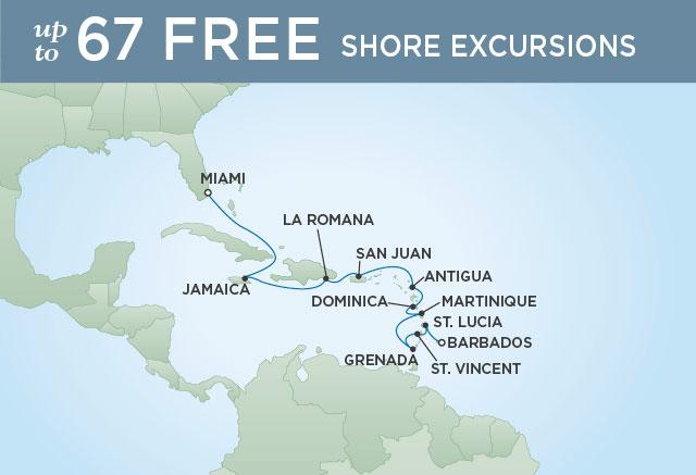 Regent Cruises | 12-Nights from Bridgetown to Miami Cruise Iinerary Map