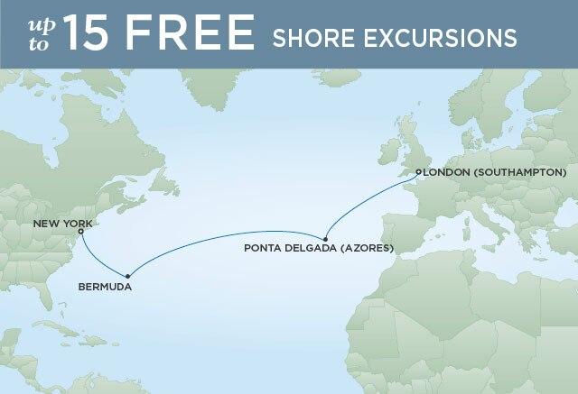 Regent Cruises | 12-Nights from New York to London Cruise Iinerary Map