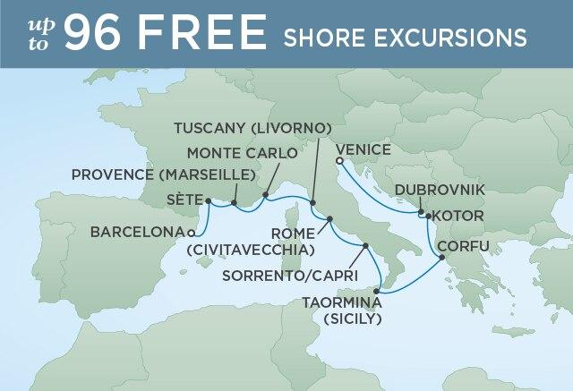 Regent Cruises | 12-Nights from Barcelona to Venice Cruise Iinerary Map