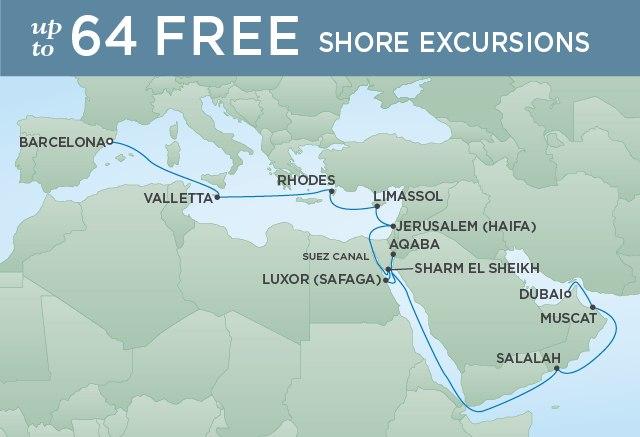 Regent Cruises | 22-Nights from Barcelona to Dubai Cruise Iinerary Map