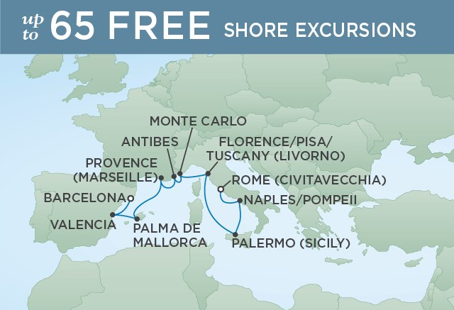 Regent Cruises | 10-Nights from Rome to Barcelona Cruise Iinerary Map
