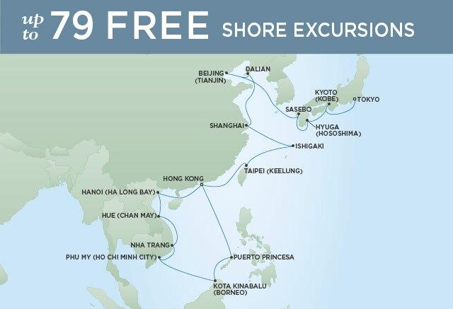 Regent Cruises | 28-Nights from Hong Kong to Tokyo Cruise Iinerary Map
