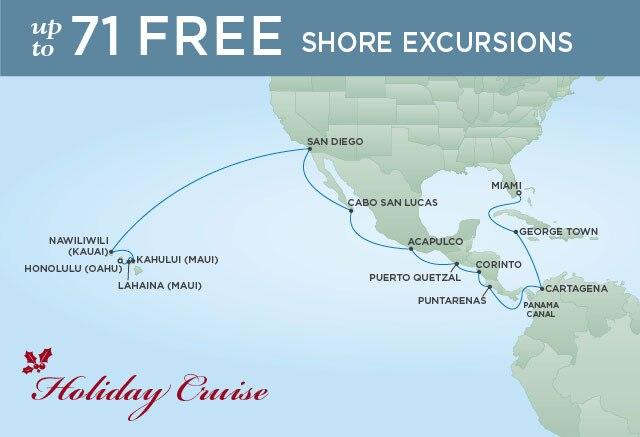 Regent Cruises | 24-Nights from Miami to Honolulu Cruise Iinerary Map