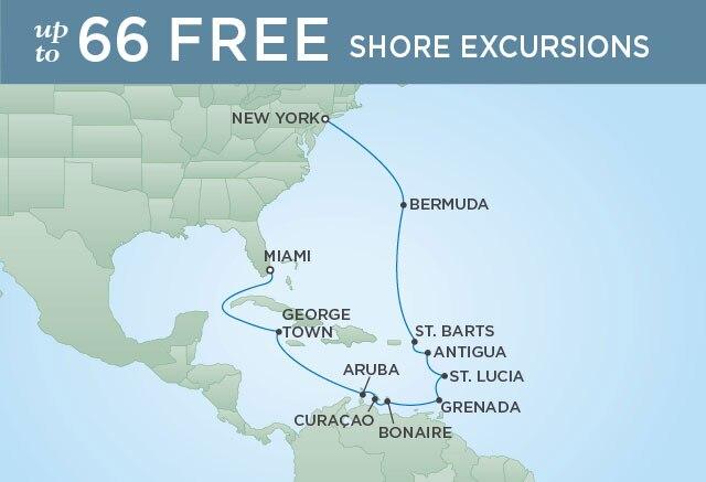 Regent Cruises | 16-Nights from New York to Miami Cruise Iinerary Map