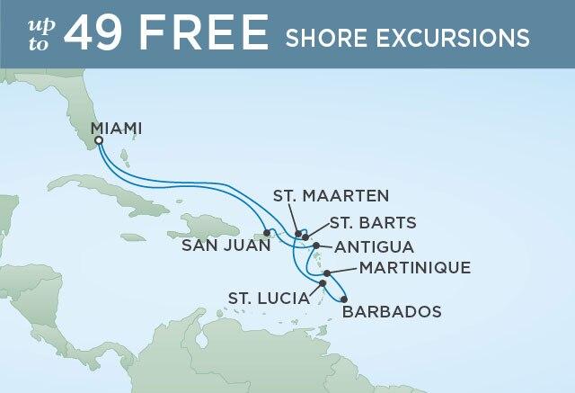 Regent Cruises | 12-Nights Roundtrip from Miami Cruise Iinerary Map