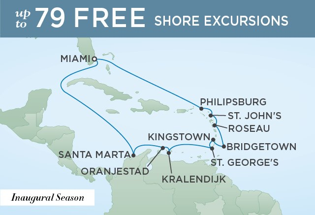 Regent Cruises | 14-Nights Roundtrip from Miami Cruise Iinerary Map