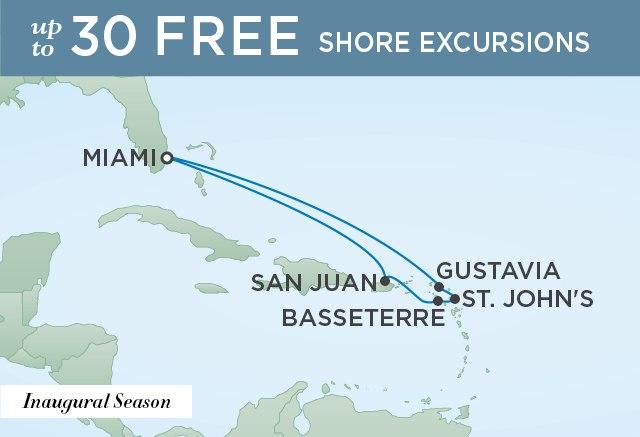 Regent Cruises | 9-Nights Roundtrip from Miami Cruise Iinerary Map