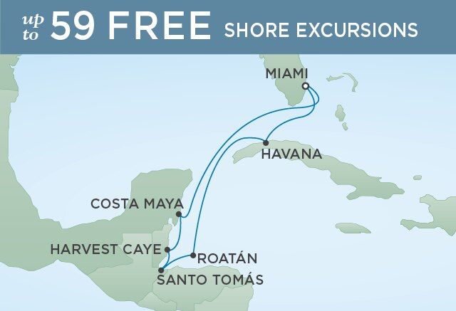 Regent Cruises | 8-Nights Roundtrip from Miami Cruise Iinerary Map