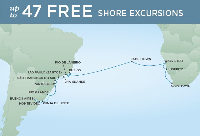 Regent Cruises | 26-Nights from Cape Town to Buenos Aires Cruise Iinerary Map