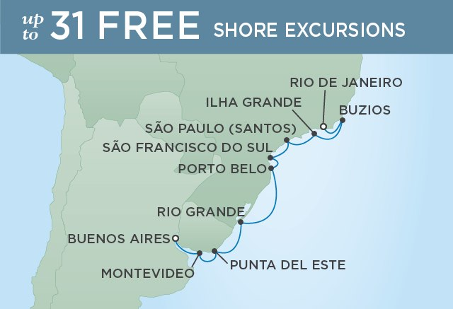 Regent Cruises | 12-Nights from Rio de Janeiro to Buenos Aires Cruise Iinerary Map