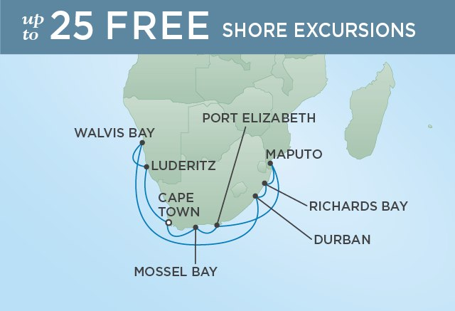 Regent Cruises | 14-Nights Roundtrip from Cape Town Cruise Iinerary Map