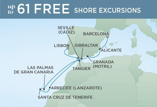 Regent Cruises   12-Nights from Barcelona to Lisbon Cruise Iinerary Map