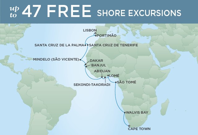 Regent Cruises | 24-Nights from Lisbon to Cape Town Cruise Iinerary Map