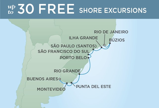 Regent Cruises | 12-Nights from Buenos Aires to Rio de Janeiro Cruise Iinerary Map