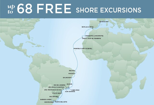 Regent Cruises | 30-Nights from Buenos Aires to Barcelona Cruise Iinerary Map