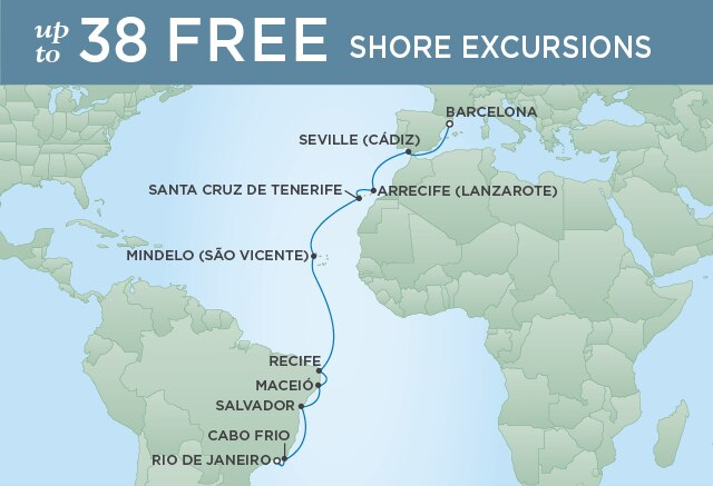 Regent Cruises | 18-Nights from Rio de Janeiro to Barcelona Cruise Iinerary Map