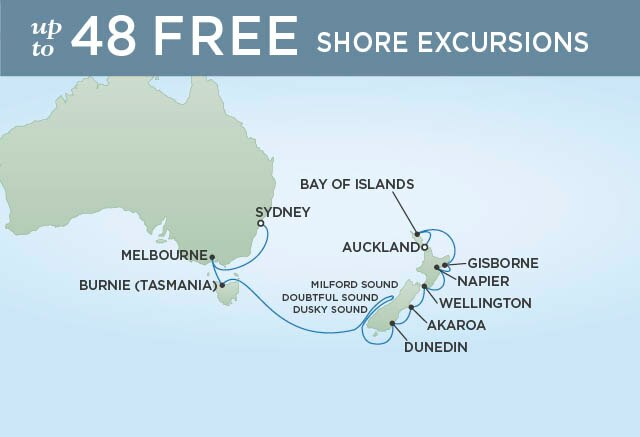 Regent Cruises | 14-Nights from Auckland to Sydney Cruise Iinerary Map