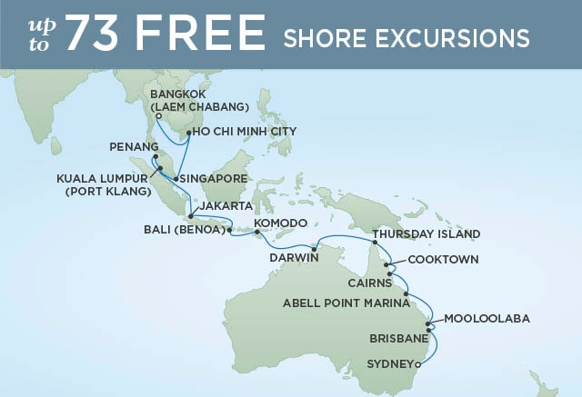 Regent Cruises | 30-Nights from Sydney to Bangkok Cruise Iinerary Map