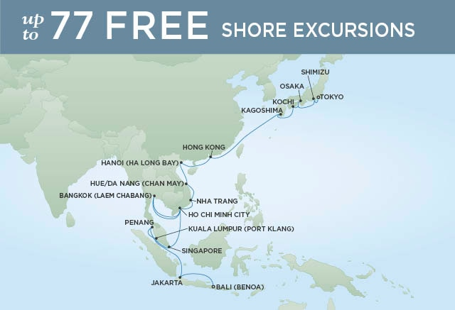 Regent Cruises | 32-Nights from Bali to Tokyo Cruise Iinerary Map