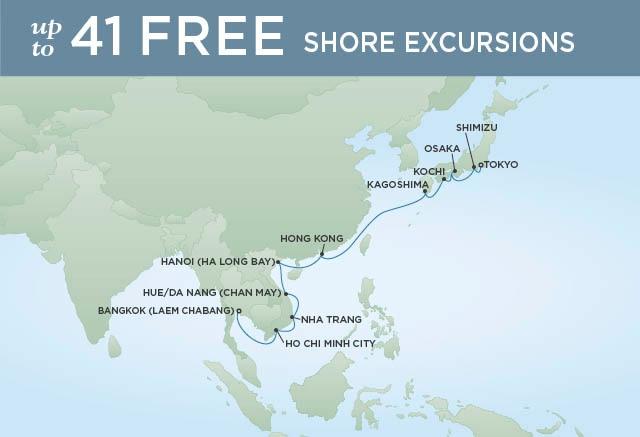 Regent Cruises | 18-Nights from Bangkok to Tokyo Cruise Iinerary Map