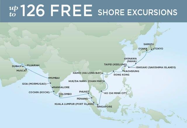 Regent Cruises | 36-Nights from Tokyo to Dubai Cruise Iinerary Map
