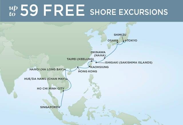 Regent Cruises | 18-Nights from Tokyo to Singapore Cruise Iinerary Map