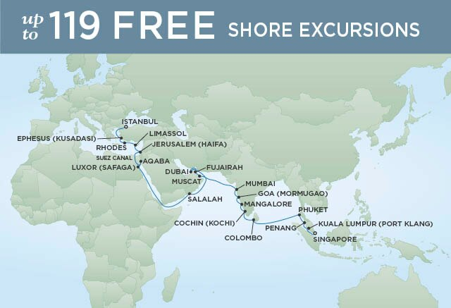 Regent Cruises | 37-Nights from Singapore to Istanbul Cruise Iinerary Map