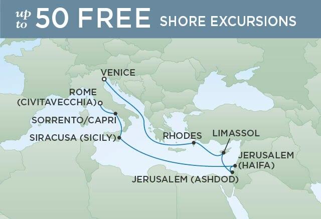 Regent Cruises   12-Nights from Rome to Venice Cruise Iinerary Map