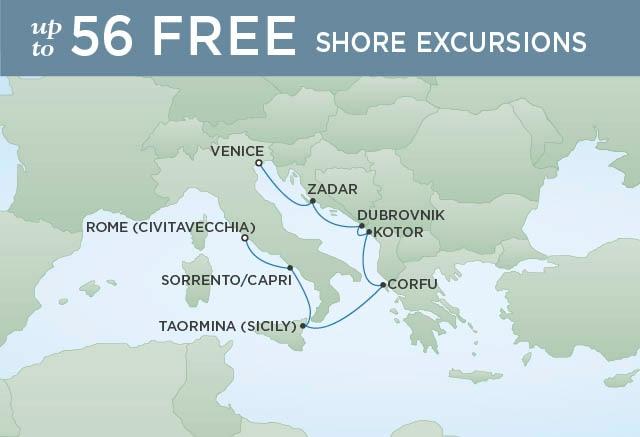 Regent Cruises | 7-Nights from Venice to Rome Cruise Iinerary Map