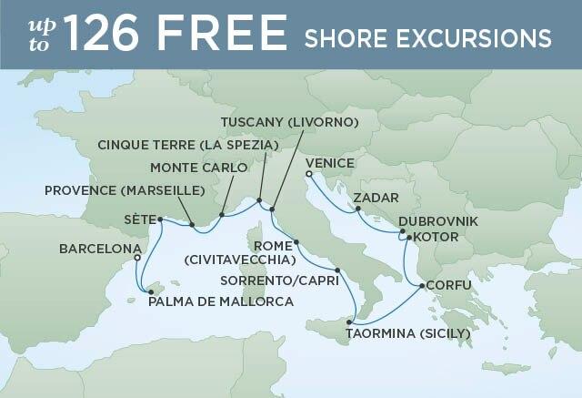 Regent Cruises   15-Nights from Venice to Barcelona Cruise Iinerary Map