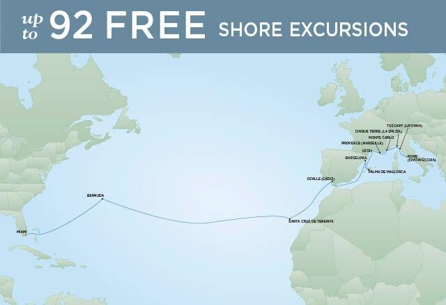 Regent Cruises | 22-Nights from Rome to Miami Cruise Iinerary Map