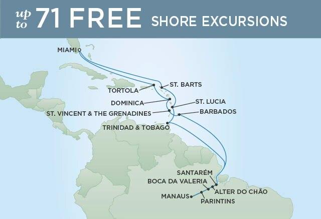Regent Cruises | 24-Nights Roundtrip from Miami Cruise Iinerary Map