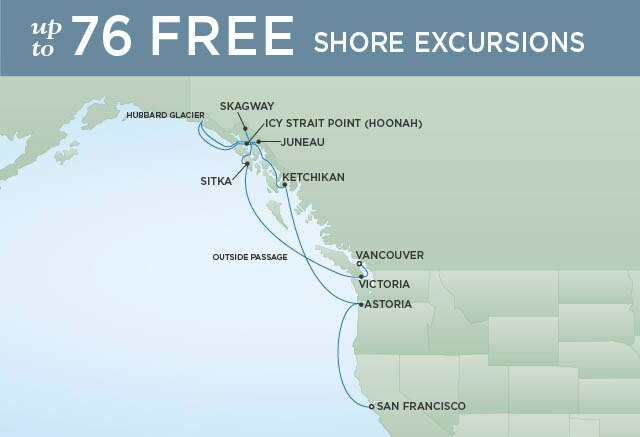 Regent Cruises | 13-Nights from San Francisco to Vancouver Cruise Iinerary Map
