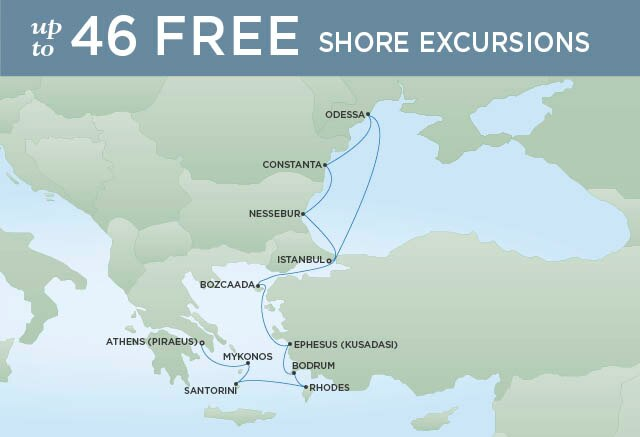 Regent Cruises | 12-Nights from Istanbul to Athens Cruise Iinerary Map