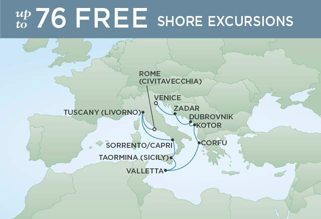 Regent Cruises | 10-Nights from Venice to Rome Cruise Iinerary Map