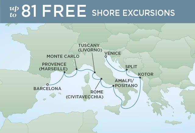 Regent Cruises | 10-Nights from Barcelona to Venice Cruise Iinerary Map