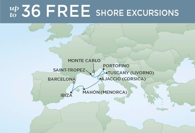 Regent Cruises | 7-Nights from Monte-Carlo to Barcelona Cruise Iinerary Map